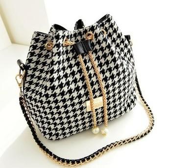 2015 New Women Handbag National Trend Bohemia Style Print Chain Drawstring Buc