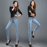 2014 New Arrival Hot Sale Ladies Jeans Fashion Style Women's Pants Pencil Feet Jeans Slim fit Jeans Washing Blue