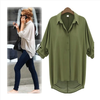 turn-down collar loose long-sleeve shirt  women cotton chiffon all-match top cardigan fashion army green blouse VZY036
