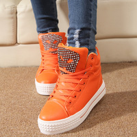 New Skull Rhinestone High-Top PU Platform Women's Casual Sneakers 36- 40 4953
