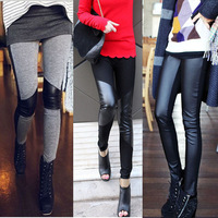 Spring patchwork legging fashion legging faux leather patchwork personalized female pants legging dadiku