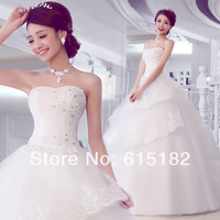 Free Shipping Elegant Luxury 2014   Wedding Formal White Tube Top Diamond Plus Size Wedding Dress