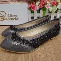 New 2014  flat heel color block decoration pointed toe sweet single shoes flat paillette princess fashion shoes female shoes