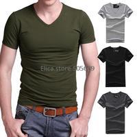 2014 Hot Sale New Casual Camisa Masculina Men T Shirt Solid Color Camisetas Masculinas V Neck T-shirt Moleton Shirts Cotton