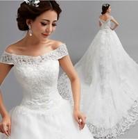 2014 New Ladies White Lace Organza Floor Length Sabrina Train Zipper Design Wedding Dress,Braidal Gown 8556