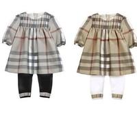 Free shipping 2014 chinese new year fashion newborn cheap girl`s 2pcs set baby clothing set Plaid dress+leggigs set Retail 2013
