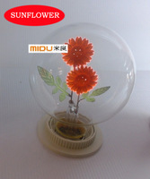 New Arrival Attractive Fashion Incandescent Vintage Edison Light Bulb With Rose And Sunflower Inside,Lovely Child's Gift Decor