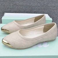 Flatbottomed  fashion small pointed toe fashion single shoes flat heel metal decoration shallow mouth of the trend women's