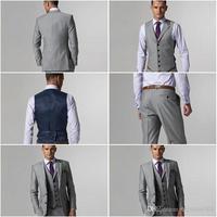Wholesale - G01 (Jacket+Pants+Tie+Vest) Custom Made Slim Fit Two Buttons Light Grey Groom Tuxedos Notch Lapel Best Man Groomsmen
