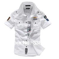 M-4XL New arrival Fashion airforce uniform military slim fit men short sleeve shirts men's dress shirt 9 colors free shipping
