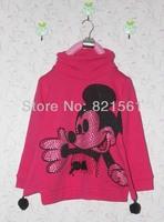 sport mickey mouse childrens Diamond clothing girl's top shirts plus velvet Hooded Sweater hoodie coat overcoat topcoat