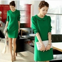 2014 spring sweet peter pan collar slim elegant plus size high waist long-sleeve dress