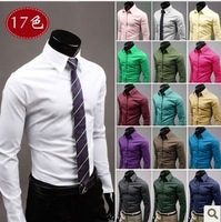Solid color Men shirt casual male fashion candy color long-sleeve shirt male