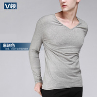 100% cotton long-sleeve T-shirt V-neck long-sleeve T-shirt male slim 2013 autumn long-sleeve basic shirt male