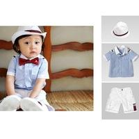 New's brand baby sets ,baby's sets turn-down collar short sleeve shirt,fashion children's khakbule an cotton t-shirt