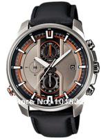 Free Shipping EFR-533L-8AV Men's Chronograph Sport Date EFR-533L Black Leather Strap Orange Watch EFR-533L-8