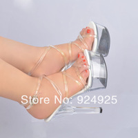 15CM high heel sandals transparent crystal shoes European and American models concise party shoes big yards size 4-12