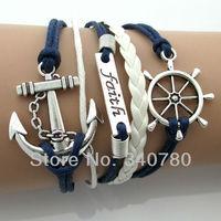 2014 New Vintage Antique Silve Fashion Alloy Helm Anchor Faith Bracelet,Cheap Good Quality Punk Bangle Leather wax bracelet E05
