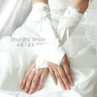 free shipping Bride ivory 2 small flowers lace fingerless satin gloves marriage  wedding gloves