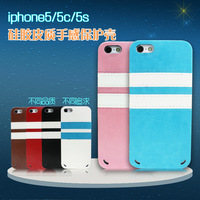 For apple   5 belt iphone5 phone case protective case leather iphone5 s package silica gel sets popular