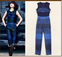 High Quality Runway 2014 Deigner Women Blue Striped Jumpsuits &Rompers O-neck Trousers,Fashion Pants S-L Free Shipping