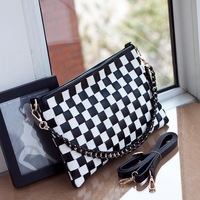 2014 new female wave of cool casual style Reversing plaid woven shoulder bag Messenger bag