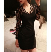 Hotselling Bodycon Lady Women Lace Dress Slash Deep V-Neck Evening Mini Dress Black ,Free Shipping Wholesale Size S-XXL 654354