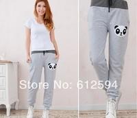 New women/lady panda print harem pants female cartoon letter embroidery sweatpants elastic waist color block pockets kawaii slim