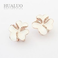 2014 New Fashion Individual Alloy White Jasmine Flower Rhinestone Drop  Earrings For Women E1141
