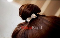 6pcs Lovely Temperamentally Faux Pearl Bowknot Ponytail Holder Hair Band Rope 261127