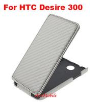 2014 New Case Mobile Phone Leather Case Flip Cover Carbon Fiber Case  For HTC Desire 300
