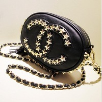 Fashion oval 2014 fashion five-pointed star rivet chain tassel shoulder bag messenger bag
