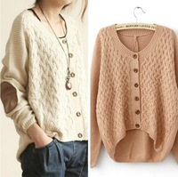 2014 New Women's Fashion European Style Round Collar Color Twisted Single Button PU Splicing Long Sleeves Cardigan Beige/Pink