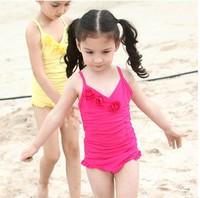 2014 top girls swimsuit roses bathing suits trunk set kids swimwear