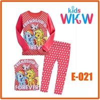 Girls Little Pony Pajamas Sets Kids Autumn -Summer Clothing Set New 2014 Wholesale Children Casual Pijamas E-018