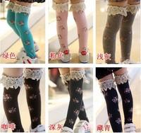 Children Girl Kid Sweet Princess Soft Knee High Socks Printing Straight Sock Cute 1-8 years 6 Colors Free shipping