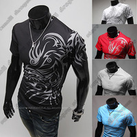 Free shipping European and American style dragon totem tattoo short sleeve 2014 Brand t shirt for men tshirt,best t-shirt