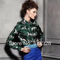 New 2014 Fashion European Style Popular  Women Shirts Lapel Button Long Sleeve Printed Horse Temperament Women Clothing SX12131