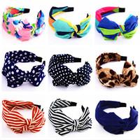 2014 New Rushed Hair Jewelry Polka Dot Stripe Silk Fabric Headband Big Bow Broadside Hairwear Accessory Women Free Shipping