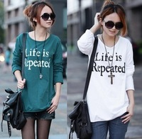 2014 spring plus size clothing mm spring loose letter basic shirt long-sleeve T-shirt female