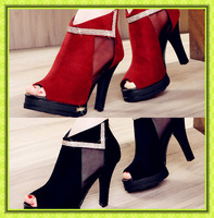 free shipping Hot-selling single shoes female fashion lace open toe high-heeled shoes thick heel ol gauze women's shoes