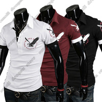 2014 Fashion New Short Sleeve Shirts Men,Brand Quality Spring&Summer Casual Shirts,Three Color Eagle Plated Drop&Free Shipping