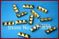 free shipping 1000pcs 5*15mm Pyramid shape golden metal rivets DIY studs for handbag/ Leather /Clothes/Belt