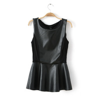2014 New Arrived Women's PU Dress,Bust 82cm-90cm,Sleeveless Vintage Round Neck Hot Sale In China,Low Number,Part Free Shipping