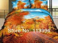 gold leaves tree autumn 3d prints cotton bedding comforter set queen/full bed sheet duvet quilt cover sets bedclothes free ship