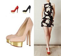 New style Gold T Stage High Heel Shoes For Women Stiletto Pumps Drop Shipping EUR size 35-40 DX252