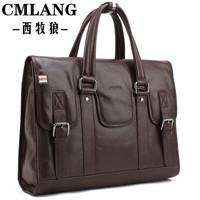Free shipping Men's bag Genuine leather handbag  First layer of cowhide laptop bag Messenger bag Briefcase