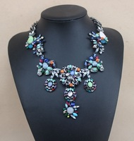 Fashion trendy new arrival designer women jewelry Floral crystal vintage spring choker necklace for women