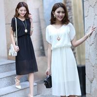 Spring 2014 Ladies One-Piece Dresses Bohemia Summer Dress Ruffled Pleated Sleeve Casual Long Dress