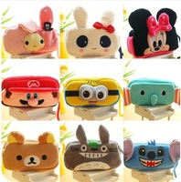 Free Shipping 2pcs Cartoon double layer cosmetic bag large capacity multifunctional mobile phone plush storage bag